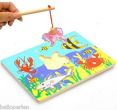 HP Wooden Mini Ocean Fun of The Preschool Magnetic Fishing Toy Parent-child Toys
