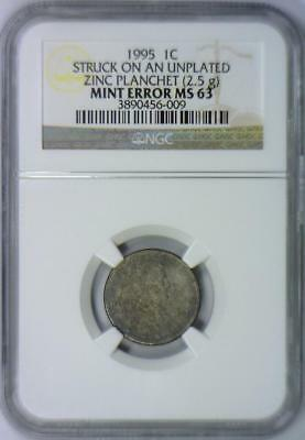 1995 Lincoln Cent Struck On Unplated Zinc Planchet (2.5g) Mint Error NGC MS-63