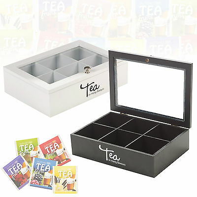Wooden Tea Box 6 Compartments Hinged Glass Lid Spice Box Chest Kitchen Food Bag