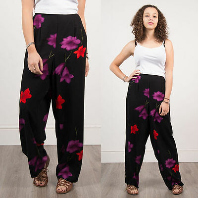 Vintage Womens Black Floral Pattern Loose Fit Trousers Casual 90's Summer  14