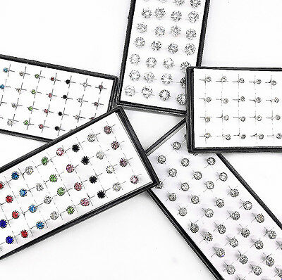 Wholesale 40pcs Solid Silver Mixed Color Simple Crystal Pierced Stud Earrings