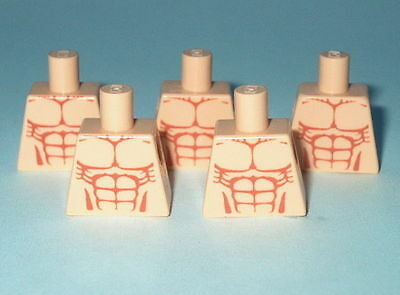 TORSO M000P Lego x5 Male Muscles Pattern Light Flesh Custom (No Arms or Hands)