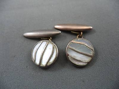 Pair Lovely Vintage Cufflinks Gilt with Mother of Pearl MOP Fronts