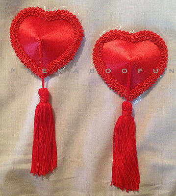 Beautiful RED Heart PASTIES Nipple Covers Stripper Self-Adhesive Reusable 538-3