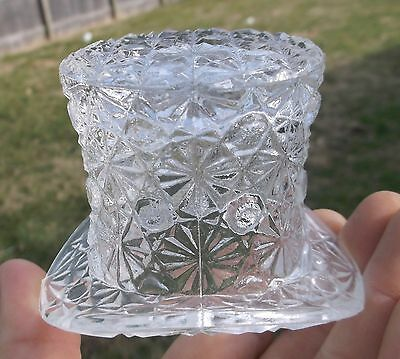 Nice Clear Glass Fancy Hat Toothpick Holder 1910's Era Shiny Clean L@@k