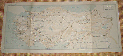 Old Turkey mountains map (folded) issued by Greek Army General Staff - FREE S/H