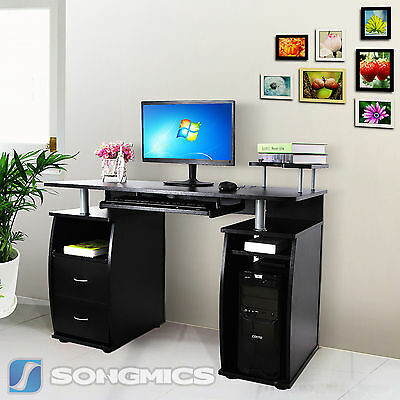 Songmics MDF Computer Desk Study Table Home Office Workstation Black LCD861B