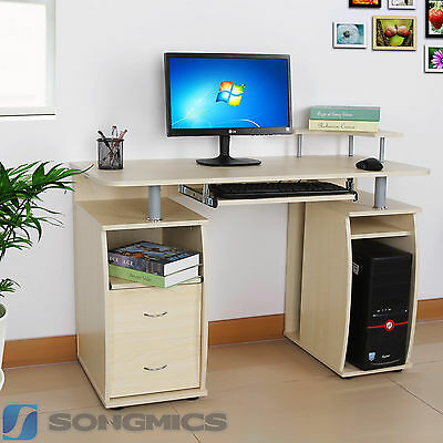 Songmics MDF Computer Desk Study Table Home Office Workstation Wooden LCD861N
