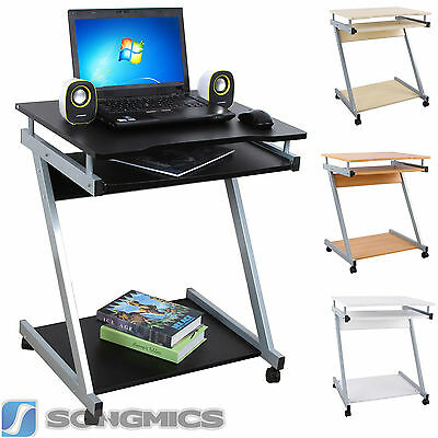 Songmics Movable Computer Desk Portable Trolley Table PCLaptop Wood Workstation