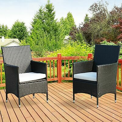 Outsunny 2PC Outdoor Rattan Wicker Patio Furniture Dining Arm Chairs W/ Cushions