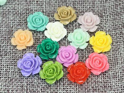 20 Mixed Color Rose Flower Flatback Resin Cabochon 20mm Embellishments