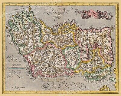 Ireland 1620 Vintage Style Decorative Historic Irish Map - 24x30