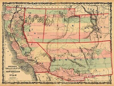 Map of California New Mexico & Utah 1861 Vintage Style Territorial Map - 18x24