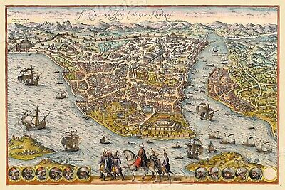 """1570s """"Byzantium, Constantinople, Istanbul"""" Vintage Style Empire Map - 20x30"""