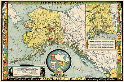Territory of Alaska 1936 Vintage Style Steamship Route Map - 20x30