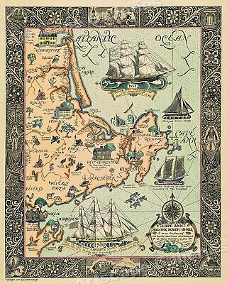 "1920s ""Cape Ann and the North Shore"" Vintage Style Massachusetts Map - 20x24"