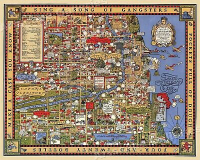 Map of Gangland Chicago 1931 Vintage Style Hysterical Map - 20x24