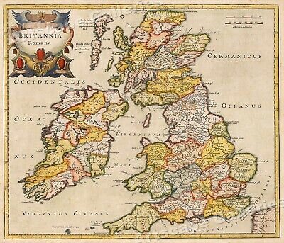 1695 England Roman Occupation Historic Vintage Style Wall Map - 16x20