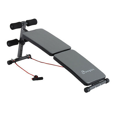 Soozier Folding Decline Sit Up Bench Adjustable Ab Crunch Exercise Board Grey