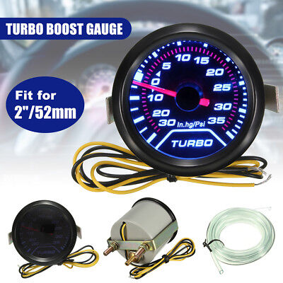 Universal 52mm 2″ White Digital LED Turbo Boost Meter Gauge Smoke Face Tint Psi