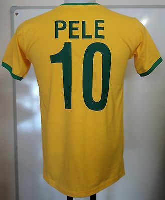 Brazil Pele 10 Retro Style S/s  Football Tee-Shirt Size Adults Xl Brand New