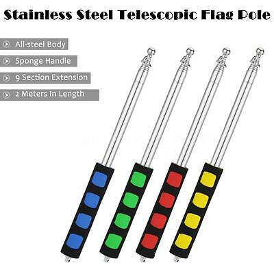 """79"""" Stainless Steel Tour Telescoping Flagpole Banner Flag Sign Collapsable K3G8"""