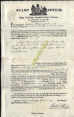 1843 ORIGINAL 1/- STAGE CARRIAGE supplementary LICENCE by STAMP OFFICE +Revenue