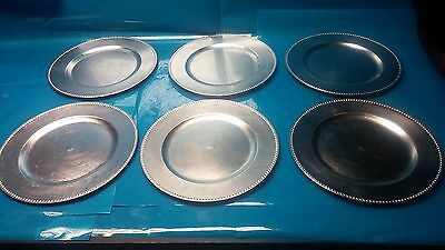 """13"""" Silver Beaded Charger Plate Set of 6 serving wedding banquet resturant  (G1)"""