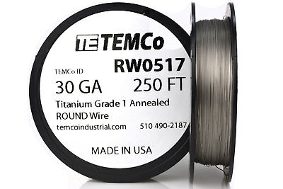 TEMCo Titanium Wire 30 Gauge 250 FT Surgical Grade 1 Resistance AWG ga