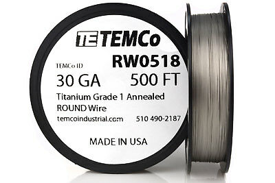 TEMCo Titanium Wire 30 Gauge 500 FT Surgical Grade 1 Resistance AWG ga