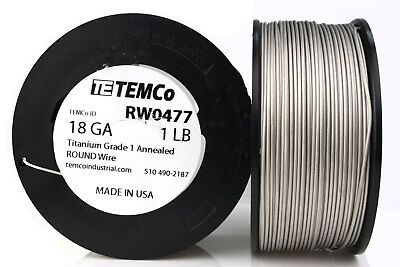 TEMCo Titanium Wire 18 Gauge 1 lb (401 ft) Surgical Grade 1 Resistance AWG ga
