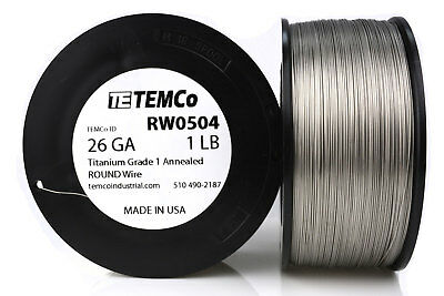 TEMCo Titanium Wire 26 Gauge 1 lb (2365 ft) Surgical Grade 1 Resistance AWG ga
