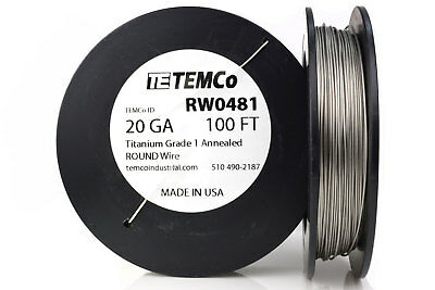 TEMCo Titanium Wire 20 Gauge 100 FT Surgical Grade 1 Resistance AWG ga