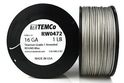TEMCo Titanium Wire 16 Gauge 1 lb (252 ft) Surgical Grade 1 Resistance AWG ga