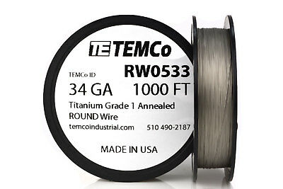 TEMCo Titanium Wire 34 Gauge 1000 FT Surgical Grade 1 Resistance AWG ga
