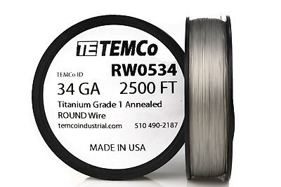 TEMCo Titanium Wire 34 Gauge 2500 FT Surgical Grade 1 Resistance AWG ga