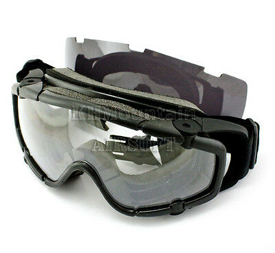 Tactical Goggles with Spare Len for Helmet / Black (KHM Airsoft)