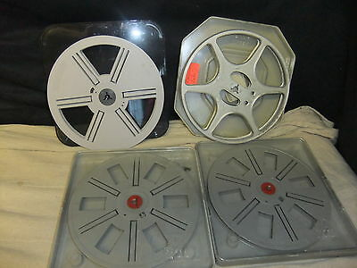 "Cine film spools x 4 7"" 18cm diameter assorted  cased  POSSO"