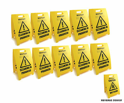 10 Pack Bentley Caution Wet Floor Sign and Cleaning In Progress Sign