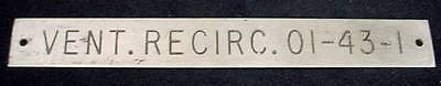 Ships Equipment Sign Plaque Vent Recirc. 01-43-1 Nautical Hardware