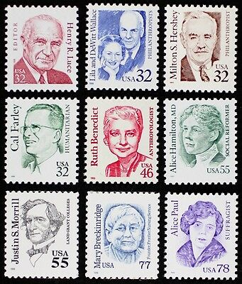 US USA #2933-2943 Great Americans III, issued 1995-1999 Complete set, Mint NH