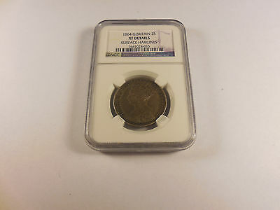 1864 Great Britain 2 Shillings - NGC XF Details - Surface Hairlines