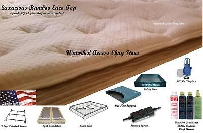 FULL Size Free Flow SOFTSIDE WATERBED with Luxurious Bamboo Euro Top Mattress
