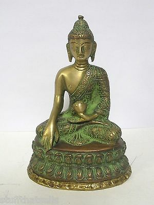 "Buddha Statue - Copper/Brass - 6"" - Green Finish"