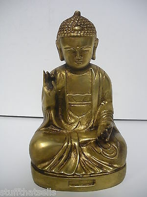 "Buddha Brass Statue - 7""-  Good Detail"