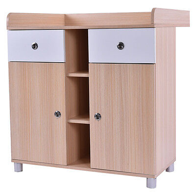 Baby Changing Table Nursery Diaper Station Dresser Infant Storage Drawer 2 Doors