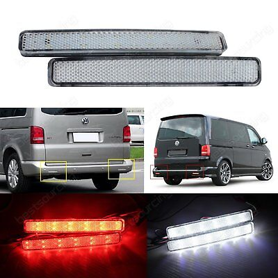 VW Transporter T5 LED Rear Bumper Reflector Reverse Brake Stop Light Clear Lens