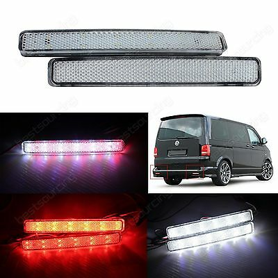 Clear Lens LED Rear Bumper Reflector Stop Brake Reverse Light VW T5 Transporter