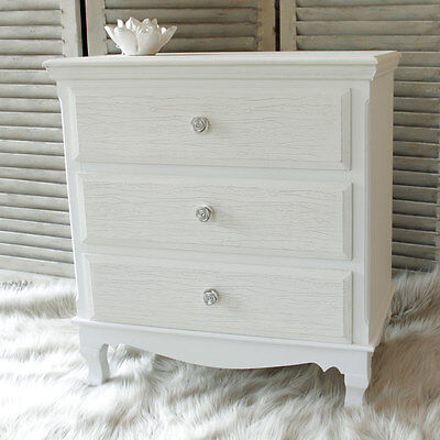 White wood chest 3 drawers shabby vintage chic French bedroom furniture storage