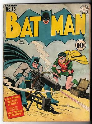 DC Comics BATMAN Golden age #15 1943 3.5 1st New Costume Catwoman classic cover